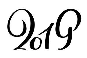 Modello di disegno della cartolina d'auguri con iscrizione disegnata a mano di numero 2019 di lerciume del nuovo anno 2019 di calligrafia cinese. Illustrazione vettoriale