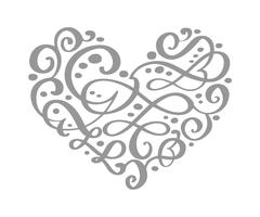 Hand drawn heart love valentine flourish separator Calligraphy designer elements. Vector vintage wedding illustration Isolated on white background frame, hearts for your design