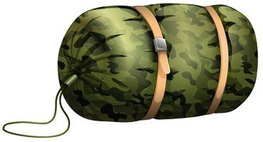 Camouflage sleeping bag on white vector