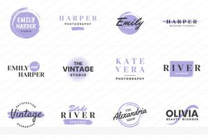 Feminine Vintage Retro Vector Logo for banner