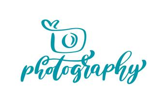 kamera fotografering logo ikon vektor mall kalligrafisk inskription fotografi text isolerad på vit bakgrund