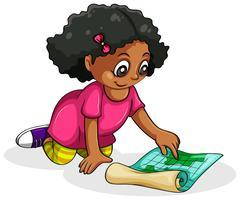 Una ragazza nera studiando