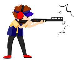 Mensenatleet die met geweerpistool schieten