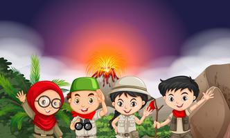 Children in camping outfi by the volcano