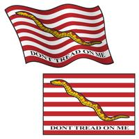 Dont Tread On Me Flag, Waving and Flat, Vector Graphic Illustration