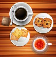 Café e bolinhos na mesa