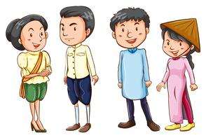 Simple coloured sketches of the Asian people