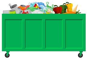 Un recolector de basura verde.