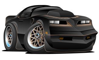 Ilustração em vetor Cartoon clássico dos anos 70 estilo americano Muscle Car