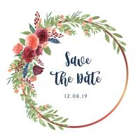 Wreaths watercolor flowers hand painted with text  frame border, lush florals aquarelle isolated on white background. Design decor for card, save the date, wedding invitation cards, poster, banner.