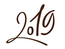 Modèle de conception de carte de voeux avec calligraphie chinoise 2019 Nouvel An grunge numéro 2019 lettrage dessiné à la main. Illustration vectorielle