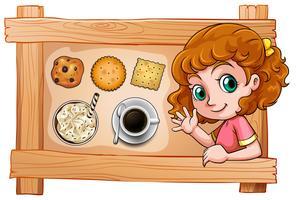 Um, quadro, com, um, menina jovem, com, bebidas, e, biscoitos