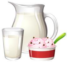 Helado de leche en el fondo blanco