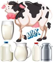Dairy products with cow and fresh milk
