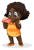 A Black lady eating a cake