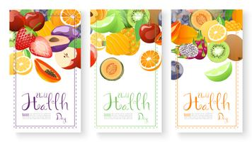 Fruits collection for world health day. vector