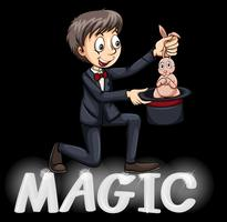 Magician using a hat vector