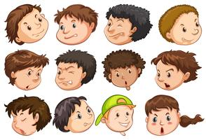 Set of people head with expression