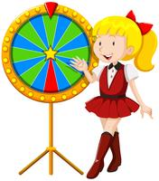 Little girl by the lucky wheel