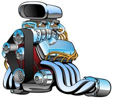 Hot rod race car engine cartoon, lots of chrome, vector illustration