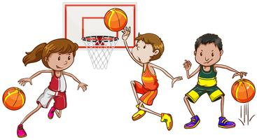 Three people playing basketball