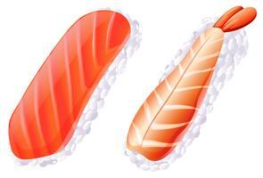 Uma carne e um sushi de peixe