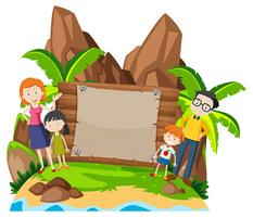 Family on island banner vector