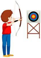 Man shooting arrow at the target vector