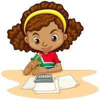 Little girl using calculator