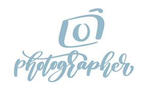 testo calligrafico di fotografia dell'iscrizione del modello di vettore dell'icona di logo del fotografo della macchina fotografica isolato su fondo bianco