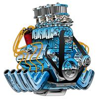V8 drag racing muskelbil hot rod motor cartoon