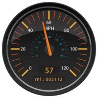 MPH Miles per Hour Speedometer Odometer Automotive Dashboard Gauge Vector