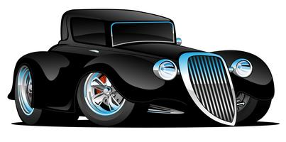 Black Hot Rod Classic Coupe Custom Car Cartoon Vector Illustration