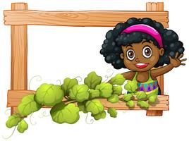 A frame with plants and a Black girl waving
