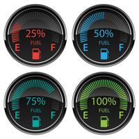 Modern Electronic Digital Car Gas Fuel Gauges Vector Illustration