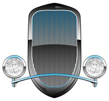 1930s Style Hot Rod Car Grill with Headlights and Chrome Trim Vector