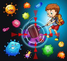 Garçon se battant avec des bactéries