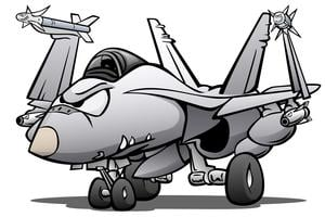 Military Naval Fighter Jet Airplane Cartoon Vector Illustration