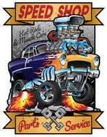 Speed Shop Hot Rod Muscle Car Parts en Service Vintage Garage Sign Vector