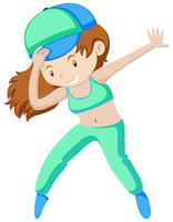 Woman in green doing aerobic