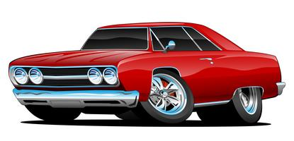 Red Hot Classic Muscle Car Coupe Cartoon ilustración vectorial