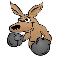 Lindo canguro con guantes de boxeo ilustración vectorial