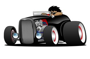 Classic Street Rod Hi Boy Roadster Illustration