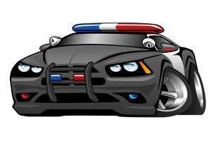 Polis Muscle Car Cartoon Vector Illustration