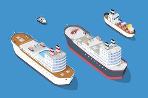Navio de cruzeiro e transporte náutico de navios de guerra vetor