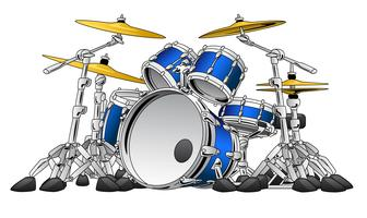 5 Piece Drum Set Musical Instrument Vector Illustration
