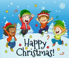 Weihnachtskartendesign mit den Kindern, die mit Schnee spielen