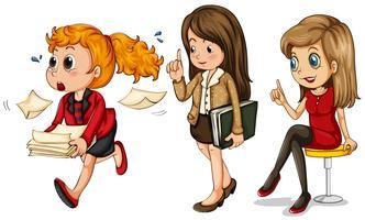 Three businesswomen doing different things