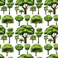 Seamless background design with different types of trees vector