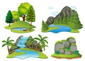 Cenas de fundo com floresta e cascata